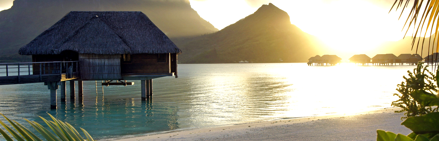 Overwater Bungalow perched above the sea in Bora Bora
