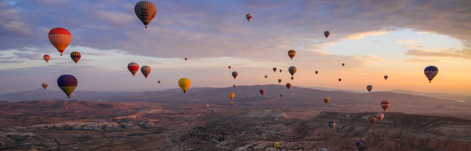 Hot Air Ballons float over Cappadocia, Turkey