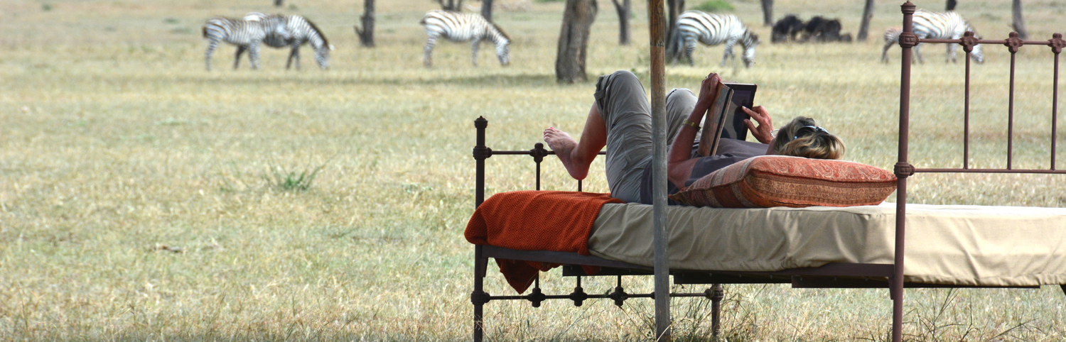 Woman laying down on a rodiron bed reading a book on the grassy plain with many zebra in the background in Tanzania in East Africa